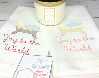 Christmas Embroidered Hand Towel, Decorative Towel, Tea Towel, Cotton Hand Towel, Hostess Gift, Housewarming Gift, Joy to the World