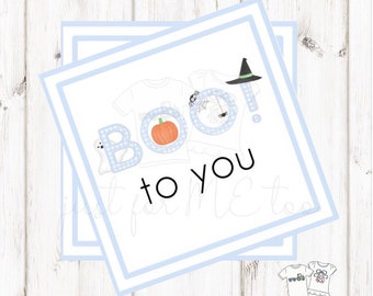 Halloween Printable Tags, Instant Download, Girl Ghost Tags, Square Gift Tags, Blue Gingham, Lunchbox, BOO Tag, Printable, Boo to you