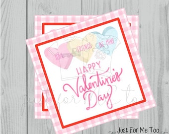 Valentine Printable Tags, Instant Download, Valentine's Day Tags, Square Gift Tags, Classroom Tag, Conversation hearts, Candy Hearts