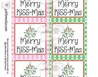 Christmas Printable Tags, Instant Download, Christmas Tags, Square Gift Tags, Merry KISS mas, Mistletoe Tag, Christmas Mistletoe, Kisses