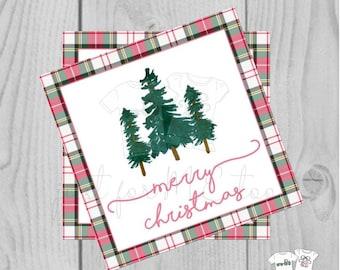Plaid Merry Christmas Printable Tags, Instant Download, Christmas Tag, Gift Tag