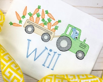 Personalized Boys Tractor with Carrots Sketch Stitch Shirt, Embroidered, Boy Shirt, Easter Shirt, Easter Tractor pulling carrots, Free Ship
