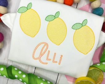 Personalized Lemon Embroidered sketch shirt, Lemon applique, Summer, for girls, monogram, embroidered, Sketch Lemon Trio