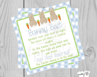 Easter Bunny Printable Tags, Easter Favor Tags, Bunny Bait, Happy Easter Tag, Printable Tags, Party Favors, Blue, Bunny Bait Recipe