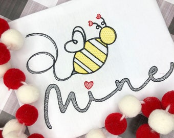 Personalized Bee Mine Valentines Day Shirt, Valentine Vintage Shirt, Sketch Bee, Heart, Valentine