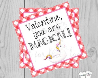 Valentine Printable Tags, Instant Download, Valentine's Day Tags, Square Gift Tags, Classroom, Unicorn Tag, Treats, You're Magical, Unicorn