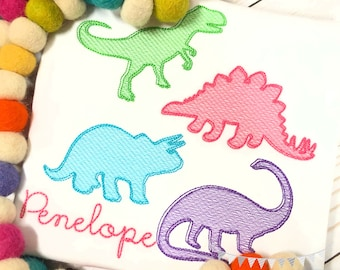 Personalized Dinosaur Embroidered Shirt, Dino Birthday, Dinosaur Applique, Embroidered, Sketch Dinosaur, Girls