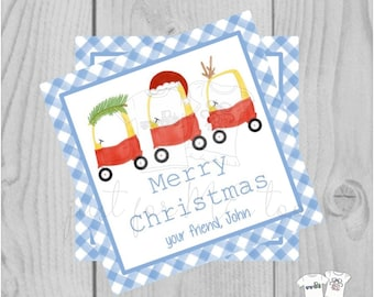 Personalized Boys Christmas Gift Tag, Personalized Tag, Christmas Coupe Gift Tag, Christmas Tag, Personalize, Personalized Christmas Tag