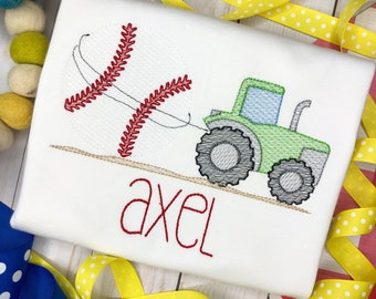 Personalized Boys Baseball Shirt, Tractor Pulling Baseball, Sketch Baseball shirt, Embroidered, Boy Shirt, Baseball Shirt, Baseball Tractor