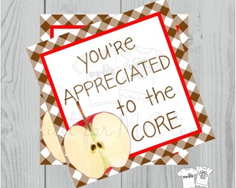 Apple Printable Tags, You're Appreciated to the Core, Instant Download, Fall Tags, Teacher Tags, Teacher Appreciation