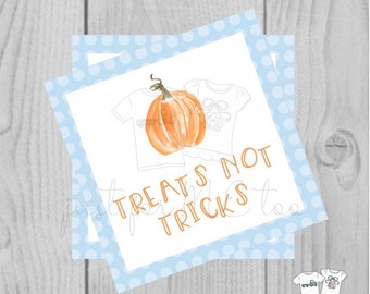 Halloween Printable Tags, Instant Download, Treats not Tricks Tags, Square Gift Tags, Polka Dot, Printable, Halloween Treats, pumpkin