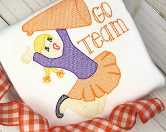 Personalized Girls Cheerleader Shirt or Bodysuit- Sketch Stitch Team Shirt- Cheer applique-Vintage Embroidery- Girl Sports Shirt