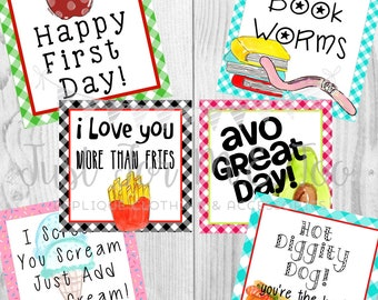 Instant Download Printable July Tags, Apple Tag, Ice Cream Tag, Hot Dog Tag, Friend, Gift, Printable, Instant Download