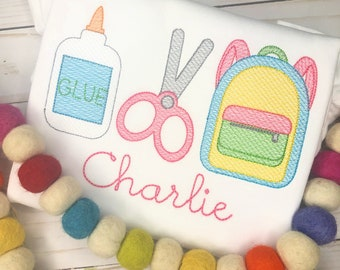 Personalized Back to School Supply Set Sketch Stitch Embroidery Shirt, Glue, Scissors, Bookbag