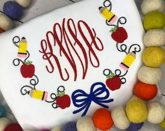 Personalized Back to School Sketch Stitch Embroidery Shirt, Monogram, Pencil and Apple vintage shirt, 1st day of school, library