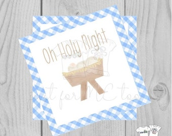 Christmas Printable Tags, Instant Download, Blue Gingham Tags, Square Gift Tags, Oh Holy Night, Baby Jesus, Christmas Tag, Instant Download