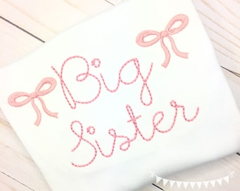Personalized Big Sister Shirt with embroidered bow