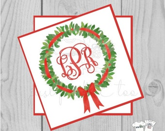 Personalized Christmas Gift Tag, Personalized Tag, Wreath Gift Tag, Christmas Tag, Personalize, Monogram Christmas Tag
