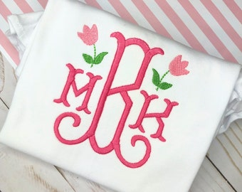 Personalized Girls monogram  shirt, Monogram Design, mini Tulip, Flower monogram, spring, summer, embroidery