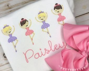 Personalized Ballerina Shirt, Ballet Applique, Vintage Ballet Shirt, Ballerina Shirt, Vintage Ballerina Shirt, Sketch Ballerina