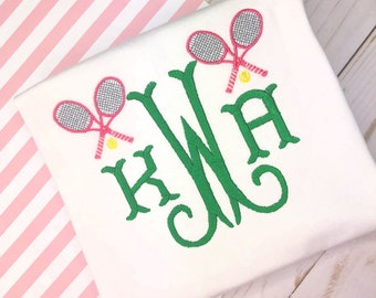 Personalized Girls monogram  shirt, Monogram Design, Tennis Monogram, Tennis Embroidery, spring, summer, embroidery, tennis