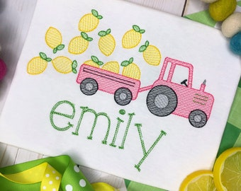 Personalized Lemon Tractor Sketch Stitch Shirt, Embroidered, Applique, Lemon, Farm Shirt, Tractor, Lemons