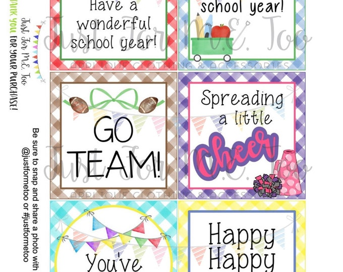 Featured listing image: August Bundle Printable Tag Bundle, Digital Tags, Gift Tag, Back to School, Football, Download, Cheer, Lunchbox Note, Happy Note