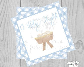 Christmas Printable Tags, Instant Download, Blue Gingham Tags, Square Gift Tags, Oh Holy Night, Baby Jesus, Nativity, Instant Download