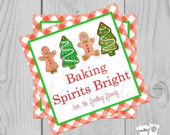 Personalized Christmas Gift Tag, Personalized Tag, Baking Gift Tag, Christmas Tag, Personalize, Baking Spirits Bright, Cookie Exchange