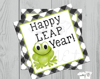 Printable Tags, Instant Download,Leap Year Tags, Square Gift Tags, Teacher Tag, Frog Tag, Happy Leap Day