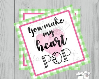 Valentine Printable Tags, Instant Download, Valentine's Day Tags, Square Gift Tags, Classroom Tag, Heart Pop, Ring Pop