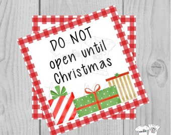Christmas Printable Tags, Instant Download, Christmas Tags, Don't Open Until Christmas, Merry Christmas, Gift card, Gift, Christmas gift Tag