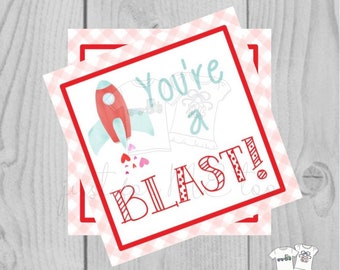 Valentine Printable Tags, Instant Download, Valentine's Day Tags, Square Gift Tags, Classroom Tag, Rocket Tag, Treats, You're a Blast