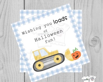Halloween Printable Tags, Instant Download, Construction Halloween Tags, Square Gift Tag, Gingham, Lunchbox, Printable, Pumpkin Bulldozer