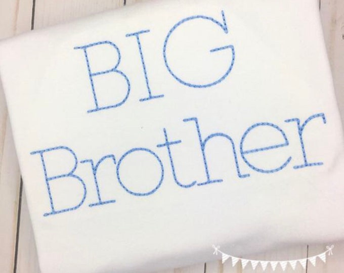Featured listing image: Personalized  Sibling shirt- Big Brother Shirt- Makes a great Gift- Vintage Stitch Sibling shirt- FREE MONOGRAM