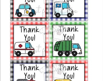 Instant Download Printable Thank You Tags, Police, Fire Truck, Mail, Garbage, School Bus, Community Helpers, Thank you