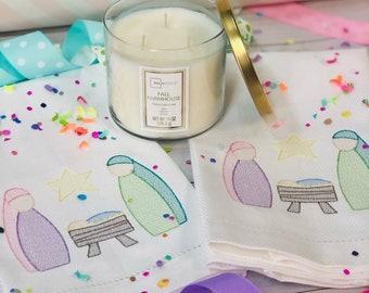 Christmas Nativity Hand Towel, Decorative Towel, Tea Towel, Cotton Hand Towel, Hostess Gift, Housewarming Gift, Embroidery, Christmas Towel