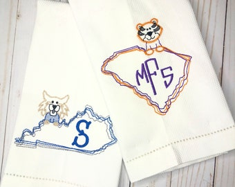 Personalized State of Kentucky Embroidered Hand Towel, Bathroom Hand Towel, Decorative Towel, Wildcat, Cotton towel, Monogram Kitchen Towel