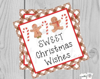 Sweet Christmas Wishes Printable Christmas Tag, Gingerbread Tag, Peppermint, Candy Cane, Baking, Gift Tag, Gifting