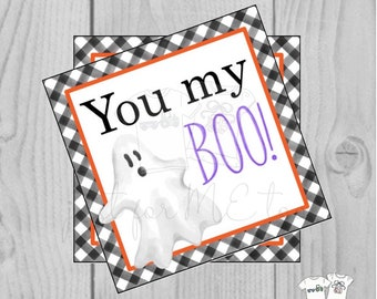 Halloween Printable Tags, Instant Download, You my Boo Tags, Square Gift Tags, Birthday, Lunchbox, Pumpkin, Printable, Halloween