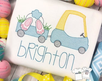 Personalized Boys Easter Bunny Sketch Stitch Shirt, Embroidered, Boy Shirt, Easter Shirt, Easter Car with Bunny Tail, boys, embroidered
