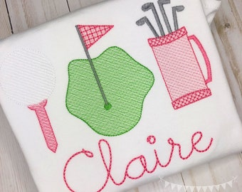 Personalized Golf Stitch Shirt, Golf Shirt, Golf Applique, Personalized Golf Shirt, Vintage stitch Golf, Golf Trio Shirt, Girls