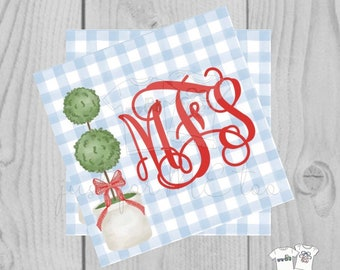 Personalized Christmas Gift Tag, Personalized Tag, Topiary Tag, Christmas Tag, Personalize, Monogram Christmas Tag