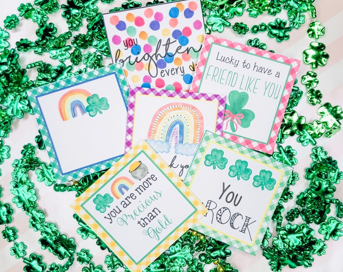 Featured listing image: February Bundle Printable Tag Bundle, St Patrick's Day Digital Tags, Clover Tag, Rainbow Tag, Pintable, Download, Gift Tags,