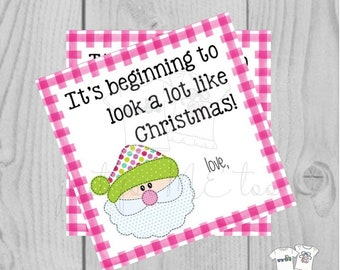 Santa Printable Tags, Instant Download, Christmas Tags, Square Gift Tags, Merry Christmas, Santa Tag, Gift Tag, Pink