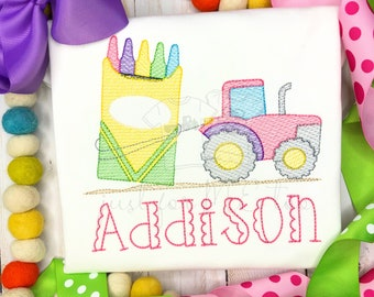 Personalized Back to School Crayon Box Tractor Sketch Shirt, sketch stitch, embroidered, girls, ruffle shirt