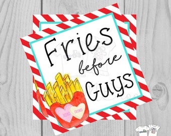 Valentine Printable Tags, Instant Download, Valentine's Day Tags, Square Gift Tags, Classroom Tag, Fries Tag, Treats, Fries before Guys
