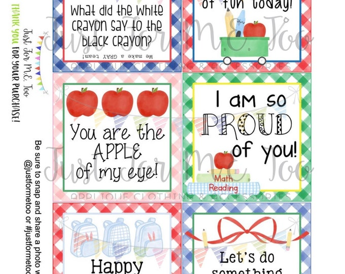 Featured listing image: Lunchbox Notes Printable Tags, Back to School, First Day of School Tags, School Tags, Lunchbox Notes, Digital Download