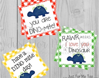Instant Download Printable Dinosaur Tags, Dino-Mite Lunch Tags, Lunch Box Note, Printable, Instant Download, Dinosaur Tag, Friend