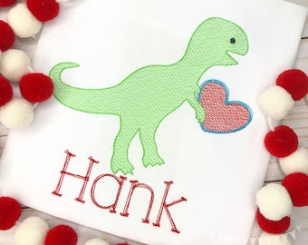 Personalized Valentine's Day Dinosaur shirt, Valentine Dino with Heart, Personalized Dinosaur, Boys Valentine Shirt, Dinosaur Shirt